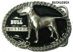 Bull Terrier Belt Buckle + display stand. Code BJ8